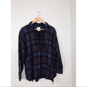 American Eagle Outfitters Tops - NWOT AEO Oversized Lace Up Plaid Tunic XL